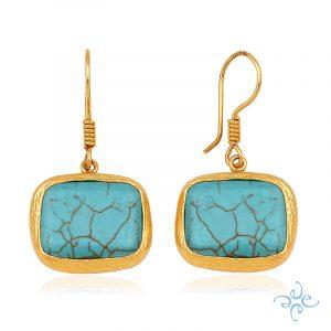 Gold Turquoise Hook Earrings