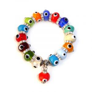 Multi-Color Expendable Bead Evil Eye Charm Bracelet