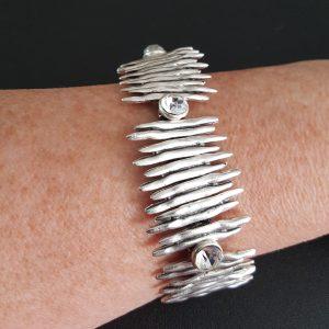 Contemporary Boho Zigzag Silver Bracelet