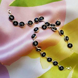 Black Silver Evil Eye Bracelet