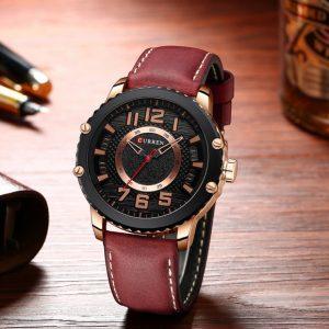 Men's Unique Quartz Wristwatch - Red&Rose Gold